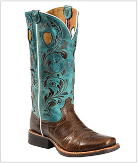 Women's Twisted X Ruff Stock Turquoise Embroidered Cowgirl Boots - Square Toe